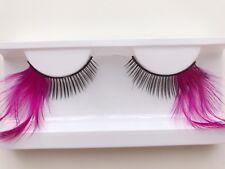 Women Hot Pink Side Feather Exaggerated Party Fake False Eyelashes Eye lashes