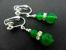 A PAIR OF GREEN JADE  SILVER PLATED  CLIP ON EARRINGS. NEW.