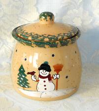 Cookie Jar Country Snowman Stoneware Pottery Green Sponge Christmas Winter LTD