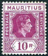 MAURITIUS-1943 10r Reddish Purple (Ordinary Paper) Sg 263a FINE USED V28940