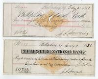 1881 and 1883 Phillipsburg NJ revenue stamped paper checks RN-G1 [y5803]