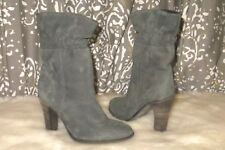 COMPTOIR DES COTONNIERS Size 37 6.5 7 Green Gray Ankle Leather Suede Boots Block