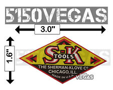 """S-K Tools Vintage Sticker The Sherman-Klove Co. USA Decal  3.0 """" x 1.6"""""""