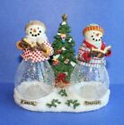 Princess House Snowman Salt and Pepper Shaker with Christmas Tree Caddy