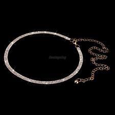 Women Bling Long Full Metal Chain Hip Waist Belt Gold Rhinestone Circle