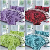 Rose Flower Reversible Stripes Duvet Quilt Cover Bedding Set with Pillow Cases