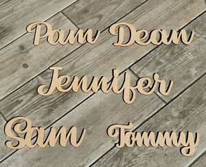 Wooden Personalised Words Script Names Bespoke Letters Plaque Signs in 3mm MDF