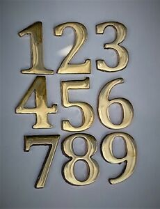 Bronze Cast Metal Numbers Polished Sign House Flat Door Number Brass 0 1 2 3 4 5