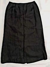 TALBOTS Womens Black Irish Linen Long Skirt-Size 6-Fully lined-EUC