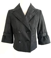 Ann Taylor C3 Womens Cropped Double Breasted Jacket Size 0P 3/4 Sleeves Black