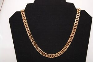 Real 24K Gold Layered Double Curb 10MM Chain Necklace W/ Free Lifetime Guarantee
