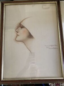 """Charles G. Sheldon Original Female Sketch Hand-Signed """"To My Old Friend Edna""""."""
