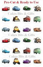 24x DISNEY CARS  Edible Wafer Cupcake Cake Toppers Pre Cut & Ready to Use.
