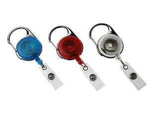 Retractable ID Badge Reel Yo Yo with Carabiner Strap Clip - Fast UK Freepost