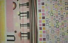 7 SHEETS 12 x 12 PAPER PINK BROWN YELLOW OP ART DOTS Stripes & more