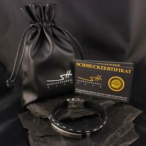 Men Bracelet Leather Stainless, 2-teilig, IN Jewellery Bags, Schmuckhandel Haak