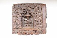 Antique Architectural Hand Carved Fine Wooden Floral Design Wall Block NH3702