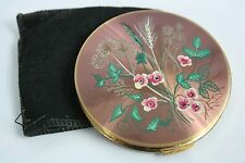 Vintage Stratton England Art Deco Wild Flowers Pink Enamel Powder Compact Pouch