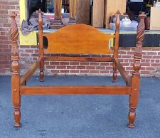 Antique Cherry 19th Century Chippendale Carved 4 Poster Full Double Size Bed