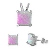 Princess Pink Fire Opal .925 Sterling Silver Earring & Pendant Set