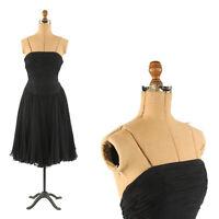 Vintage 50s Black Silk Sheer Chiffon Sleeveless Evening Cocktail Party Dress XS