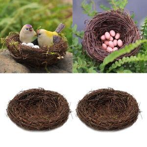2x Brown Rattan Bird Nest Photo Props Garden Ornament Holiday Decoration