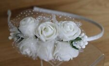 White Rose Flower Hairband, Alice Band, Headband, Bridal Bridesmaid Flowergirl