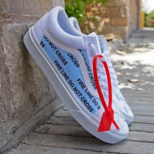 White Vans Old Skool x OFF White Iced Out Custom Handmade Shoes