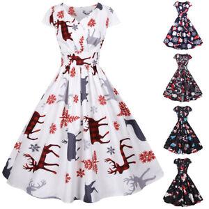 Womens Christmas Print Dress Midi Dress Ladies V Neck Short Sleeve Slim Dress