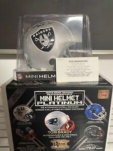 TED HENDRICKS Tristar Hidden Treasures NFL Auto Mini Helmets Platinum Inscribed