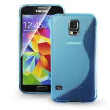 [SLIM GRIP] Samsung Galaxy S5 Case Premium Flexible S Type TPU Cover,Case-Blue