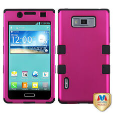 LG Optimus Showtime L86c Rubber IMPACT TUFF HYBRID Case Cover Rose Pink Black