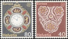SUISSE 1976 Europa/Artisanat/Horloge/WATCH/broderie/COUTURE 2 V Set n45941