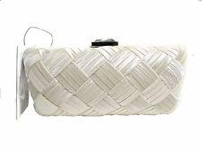 NWT Sondra Roberts Clutch Evening Bag Ivory Satin W/ Chain Strap&Lock Entry