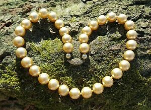 1 Strand Champagne Glass Pearl Necklace Inset Diamonte Clasp Detail, Vintage