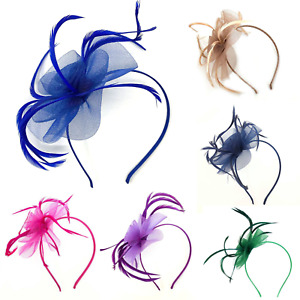 Feather Looped Headband Alice Band Fascinator Ladies Day Wedding Royal Ascot