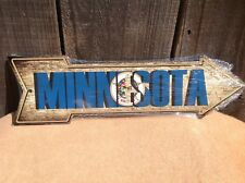 "Minnesota State Flag This Way To Arrow Sign Novelty Metal 17"" x 5"""