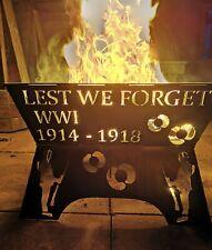 """""""Lest We Forget"""" Fire Pit log Burner Metal Garden Poppy Wood Stove Custom"""
