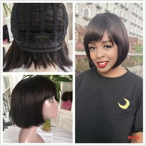 Brazilian Virgin Human Hair Wig Straight Pixie Cut Hair Wig with Bang for Women