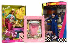 Brand New! Barbie Doll Lot; 2 Mib Dolls + Florist Photo Frame Stylin' Pup Nascar