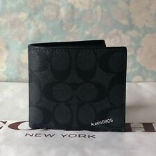NEW! COACH Signature Men's PVC Leather Wallet Purse in Black & Grey + Gift Box