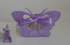 Pack of 12 Purple Butterfly Wedding Favour Boxes With Glitter Finish