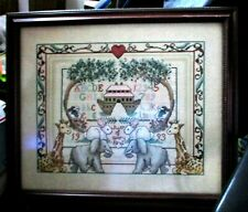 BEAUTIFUL Noah's Ark Finished & Framed Counted Cross Stitch on 18ct w/bead work