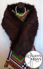 Australian Made Brown Faux Fur Wrap Shawl by Lucy's Envy W102-15