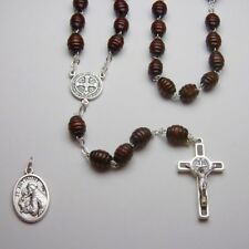 "St Benedict ""Honey Scoop"" wooden bead Rosary  - Bonus St Anthony Relic Medal"