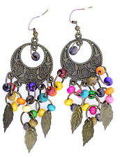 Vintage dream chatcher style bronze leaf and bead chandelier earrings