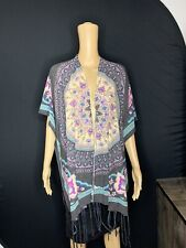 woven heart Open Front Fringe kimono Brown Size S/M