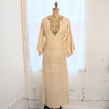 Vintage Long Sleeved Cream Kaftan Dress w/ Sequined Gold Embroidery Size (4)