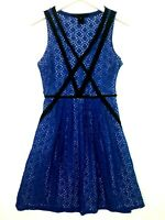marc by marc jacobs crochet sleeveless eyelet v neck dress blue size 2
