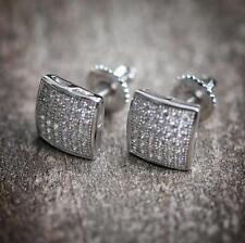 Small Silver Men's Hip Hop Stud Earrings Screw On Backs